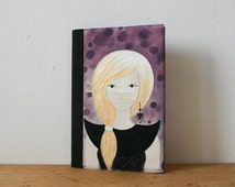 Gold haired girl fabric journal / Hand embroidered girl / Reusable A5 notebook cover / Fantasy illustration diary / Gift for her