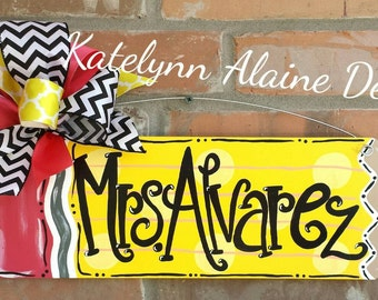 Personalized Pencil Teacher Name Sign