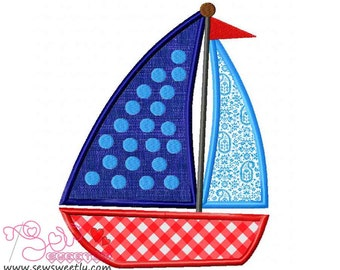Blue Sailboat Applique Design.