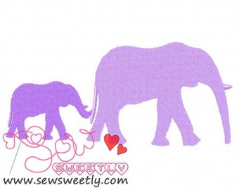 Elephant Mom And Baby Embroidery Design.