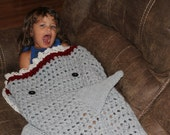 Crochet Shark Tail Blanket Preschool size, Shark Bite Blanket, Shark Attack Blanket, Shark Cocoon, Knit Shark Afghan, Great White Shark