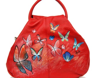 Hand Painted Fine Grain Leather Purse - Sebille Schmetterlinge Butterflies Red Purse by Lyria.ro