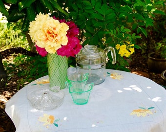 Handmade White Tablecloth with Orange & Yellow Floral Appliqué