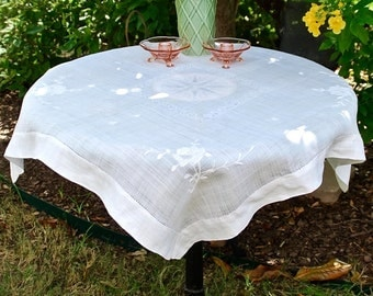 Beautiful White Tablecloth with White Embroidery