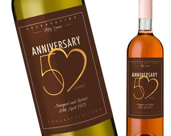 Custom Anniversary wine Label for a 50th Wedding Anniversary - Personalise with Names and Wedding Date