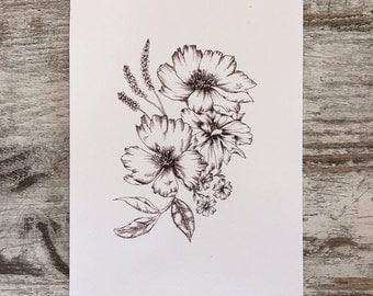 Botanical Illustration - Hand Drawn Dog roses & Dahlias floral Print