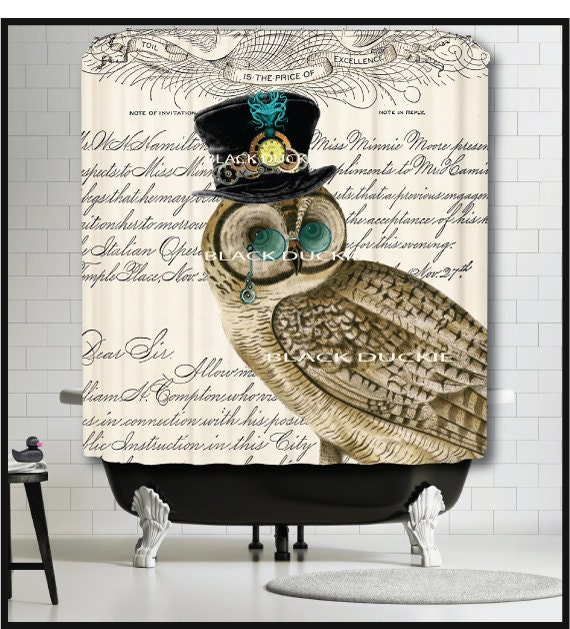 Steampunk Owl Shower Curtain Owl Bird Top Hat Clock Watch