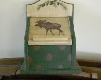 Vintage Green Beige Moose Box Home Kitchen Decor