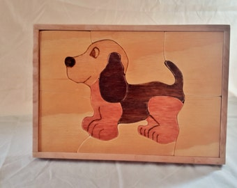 Wooden Puppy Puzzle, Children's Puzzle, Educational Toy, Made in USA