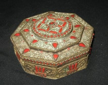Antique  ETHNIC BOX From NEPAL Semi Precious Red Jasper Stones Jewelery collectible