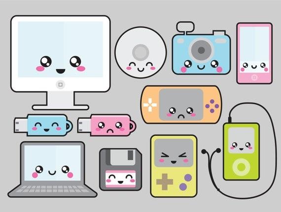 premium vector clipart kawaii technology clipart clip art technology tools clip art technology icons