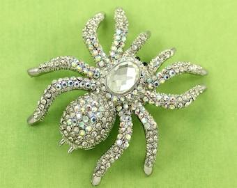 Big Spider Brooch Iridescent Rhinestone Tarantula Broach Spiders Halloween Jewelry Component