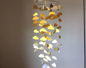 Nursery mobile, baby mobile, Shades of yellow cloud mobile with a hint of gold sparkle. Baby Nursery mobile, Crib mobile, BabyShower, Gift