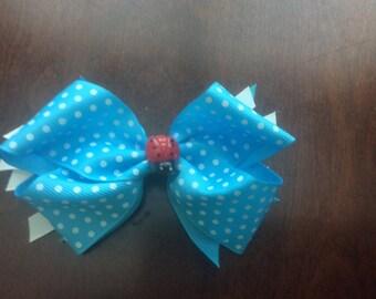 Polka dot ladybug hair bow