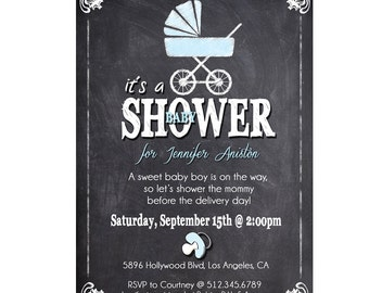 Baby Boy Shower Invitation / Blue Baby Shower Invite