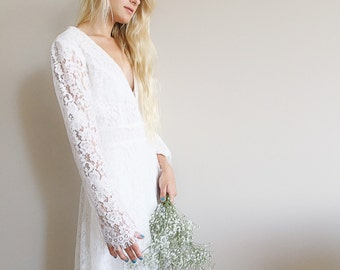 Nala Dress / Bohemian Bell Sleeves Dress / Boho Beach Lace Dress / 70s hippie