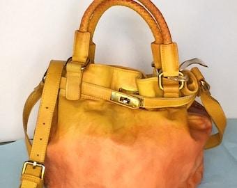 Hand Dyed Leather Bag, Leather Bag, Bucket Bag, Leather Bucket Bag