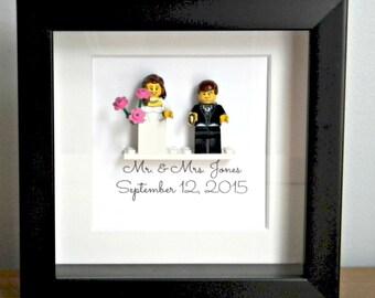bride and groom lego (R) shadowbox frame wedding gift