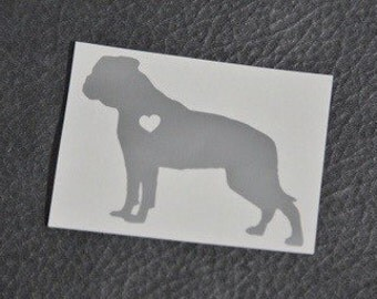 SUMMER SALE! American Bulldog w/ Heart Car Laptop Vinyl Decal Sticker