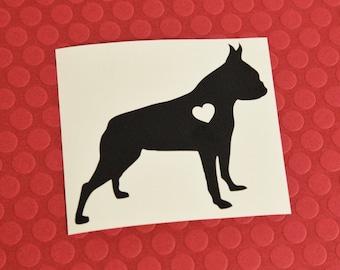 Boston Terrier w/ Heart Ear Crop Car Laptop Vinyl Decal Sticker