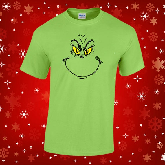 Grinch face t shirt christmas holiday the grinch by for Holiday t shirt bags