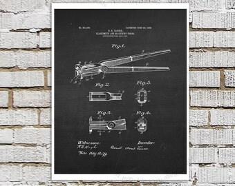 Blacksmith's Tongs Patent Poster, Blacksmith Patent Print #3, Chalkboard patent Black Wall Art, Metalworking technical drawing art print