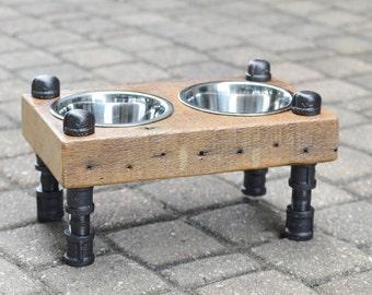 Reclaimed Barn Wood Mini Dog / Cat Bowl Feeder