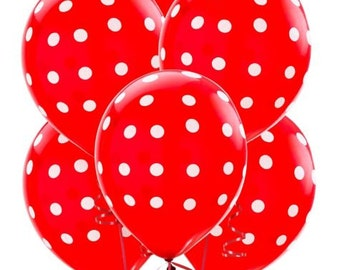 Red with White polka dot balloons