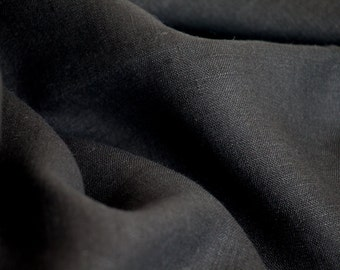 BLACK linen fabric by the yard, linen by the yard, European linen.