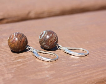 Brown turquoise bead sterling earrings