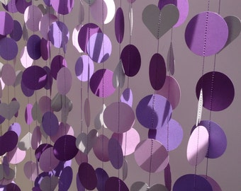 Bridal Shower & Wedding Garland Decoration, Shades of Purple Garland 15 feet long