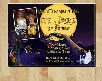 The Nightmare Before Christmas Birthday Party Invitation - Digital File - Printable - Jack Skellington Invite