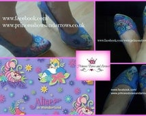 customized Alice in wonderland shoes, in flats, heels or wedges