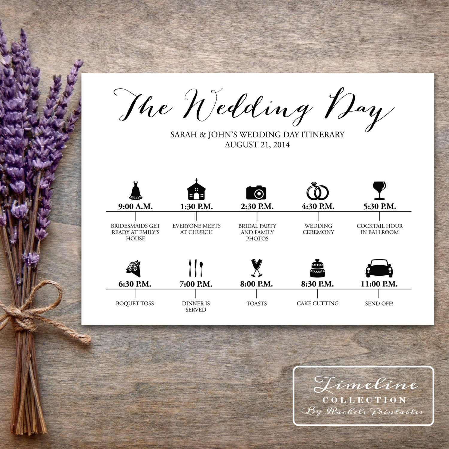 Wedding Day Timeline: Printable Wedding Timeline Day Of Itinerary By
