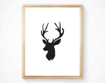 Printable art, Deer wall art, Deer print, Deer art, Deer poster, Antler print, Art print, Deer, Antler art, Woodland animal, Deer wall art,