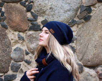 Alpaca slouchy beanie for women navy dark blue knit hat kitted adults winter beanie