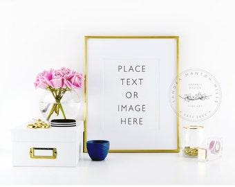 Styled Stock Photography Frame   Pink Roses and Gold Desk Accessories   Picture frame   Styled desktop