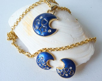 Gold and Blue Crescent Moon Pendnat Chain Necklace, Blue Crystal Clip On Earrings and Necklace, Gold Tone Vintage Jewelry,Denmark Jewelry