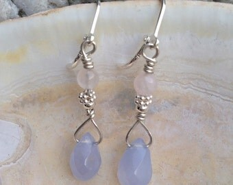 Graceful and attractive dangle sterling silver earrings, chalcedony eardrop  and rose quartz