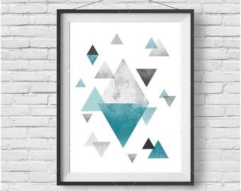 Teal Print, Teal Wall Art, Teal Poster, Geometric Print, Geometric Wall Art, Scandinavian Print, Scandinavian Wall Art, Turquoise Home Decor