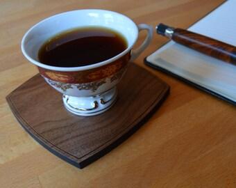 Walnut Wood Coasters - Set Of 4 - Certified Sustainable Wood - Engraved Wood Coasters