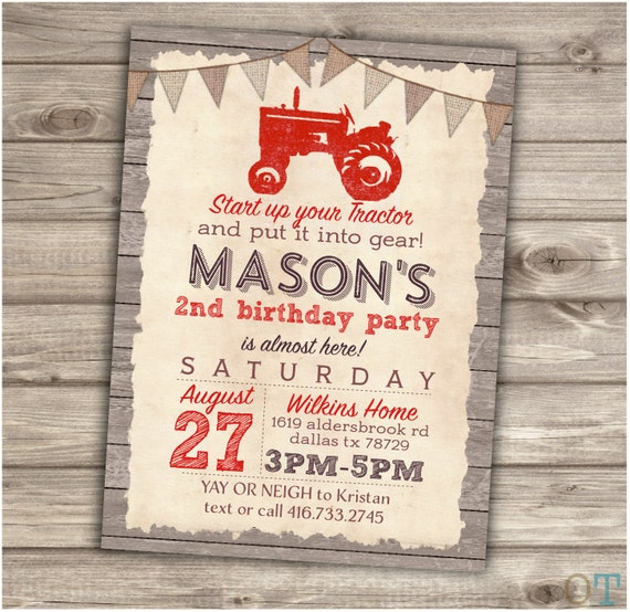 Red Tractor Birthday Printable Invitation Rustic Wood Farm