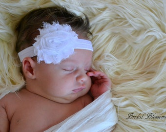 NO SLIP White Baby Headband | Shabby Chiffon Frayed Flower Headband | Shabby Chic Newborn Headband | Photo Prop | Little Girl Hair Bow