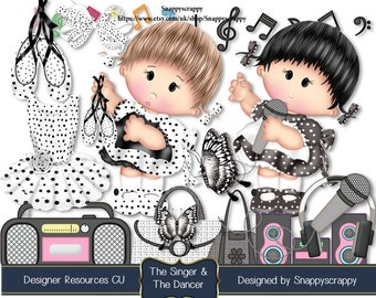 Musical  Clipart, Music Scrap Kits,  Children Singing and Dancing Scrapbooking