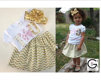 Fancy Boutique Pink and Gold Princess Birthday Chevron Outfit First Birthday 1st 2nd 3rd 4th Tshirt Skirt Big Bow