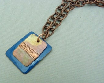 Blue torch fired enamel pendant