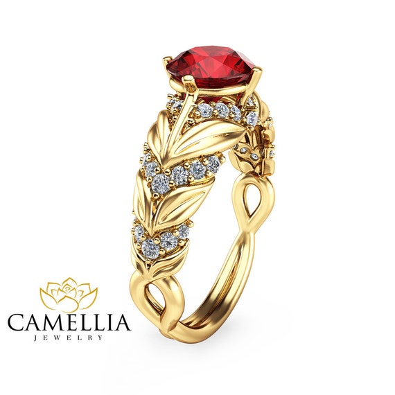 unique 14k yellow gold ruby engagement ring by camelliajewelry