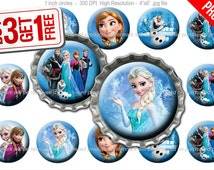 Disney Frozen Bottle Cap Images - 1 inch size - Suitable for Hair Bows, Magnets, Scrapbooking, Stickers etc - High Resolution Images (001)