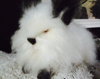 Needle Felted Bunny Rabbit Angora With Albino Eyes Made to Order