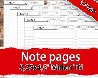 Midori insert, Midori Planner Inserts, Midori printable note page, Midori Traveler's Notebook, Midori Planner Inserts